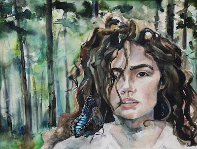 jessica titone, stolen, wren, ya fantasy romance, watercolor, painting