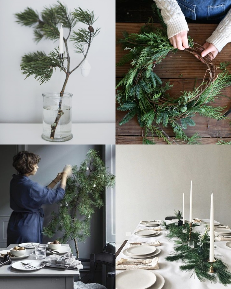 A natural Christmas decor with pine branches