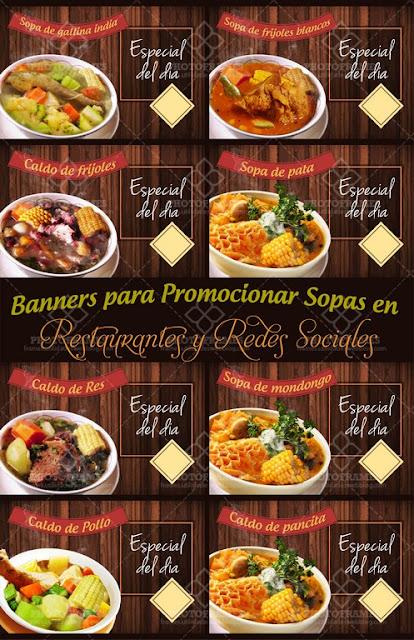 Banners para promocionar sopas y caldos listos para imprimir o compartir en redes sociales