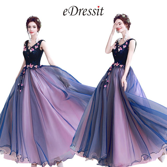 Blue Sexy V-Cut Flower Elegant Party Ball Dress