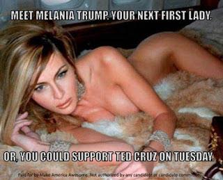 استفاده از تصویر برهنه همسر دونالد ترامپ توسط کروز در آگهی تبلیغانی انتخاباتی