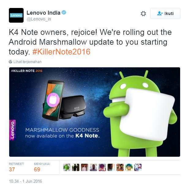 Lenovo K4 Note mendapatkan update Android v6.0 Marshmallow