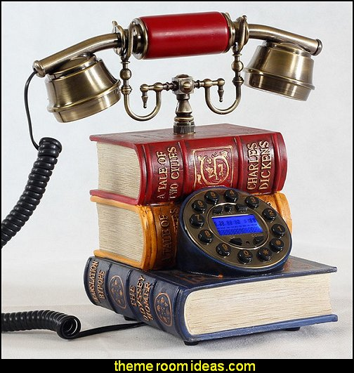 antique phone Creative retro phone  novelty furniture - unique furniture - book themed decor - Bibliophiles decor - Book themed furnishings - home decor for book lovers - book themed bedroom -  Stacked Books decor -  Stacked Books furniture - bookworm decor -  book boxes - library furniture - formal study furniture - antique book decor -