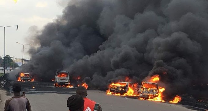 Lagos tanker explosion: Smell of burnt human flesh filled the air at Otedola fire incident