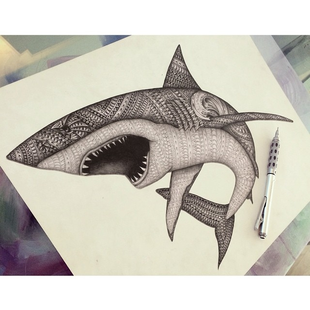 08-Great-White-Shark-Faye-Halliday-Haathi-Detailed-Drawings-Representing-Complex-Animal-www-designstack-co