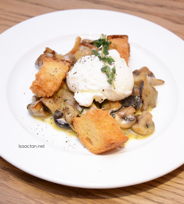 Creamed Garlic Mushroom with croutons and poached Egg - RM13