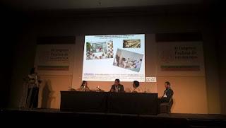 Tela mostrando apresentação em PowerPoint, com fotos referentes ao ambulatório. Mesa formada pelos apresentadores das palestras.