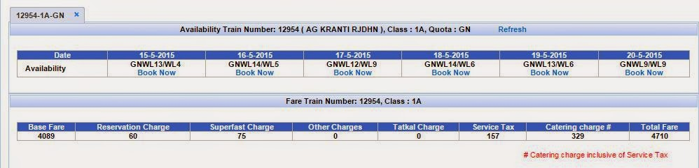 base fare and other charges that make up the total irctc charges and seat availability
