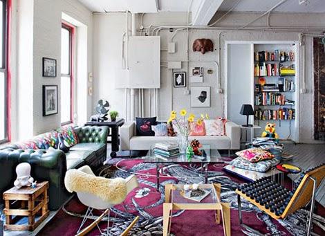 salón colorido loft