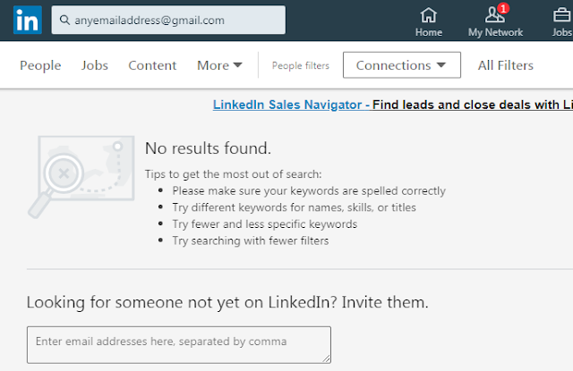 find Linkedin accounts with email addresses