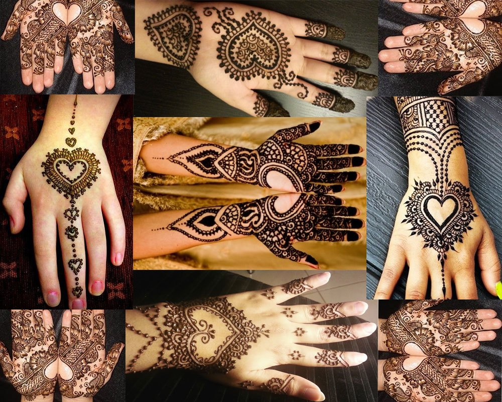 Heart Shape Mehndi Designs
