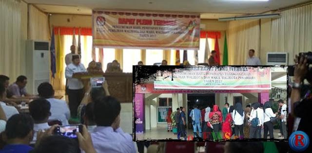 Gedung KPU Kota Pekanbaru Amblas, Pilkada Pekanbaru makin memanas