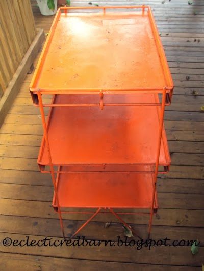Eclectic Red Barn: Orange metal stand