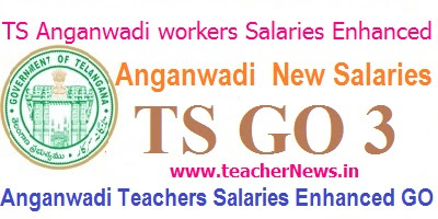 TS Anganwadi Salaries Enhanced GO 3 of Teachers workers Helpers