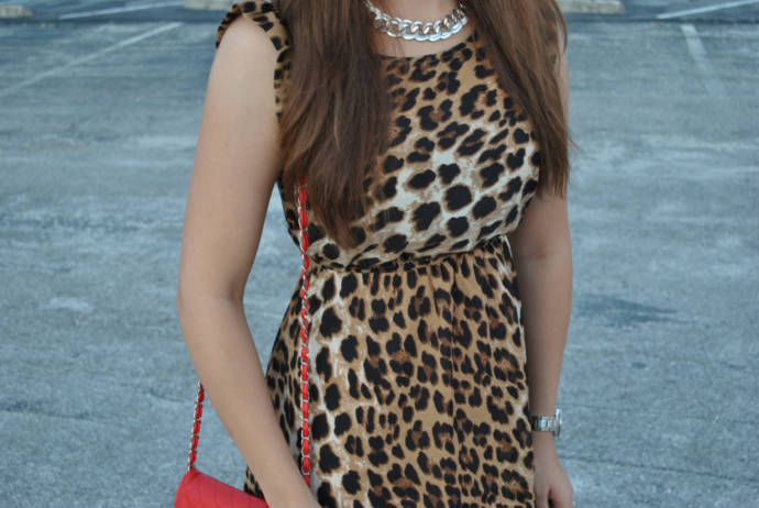 leopard print dress, mart of china, red quilted bag