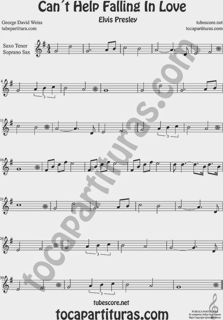 Can´t Help Falling in Love  Partitura de Saxofón Soprano y Saxo Tenor Sheet Music for Soprano Sax and Tenor Saxophone Music Scores