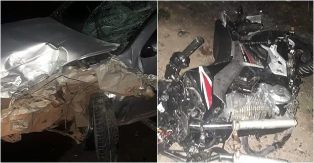 Casal que saía de festa morre após colisão de carro e motocicleta na BR-316