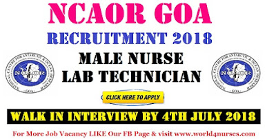 NCAOR Goa Recruitment 2018 Latest Central Govt Staff Nurse Jobs
