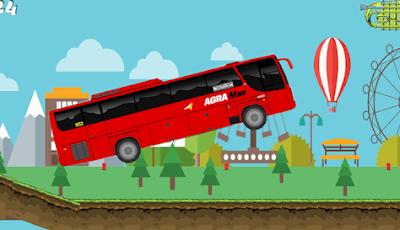 bus agra bus simulator yang memiliki corak warna merah