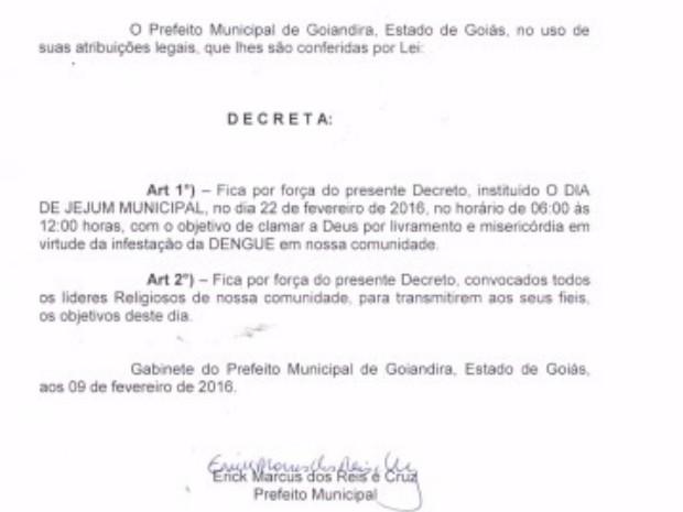 decreto JEJUM%2BCONTRA%2BDENGUE Prefeito DECRETA jejum para 'clamar a Deus' contra a dengue: