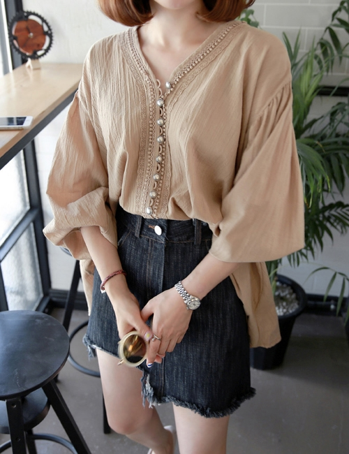 V-Neck Button-Front Loose Blouse