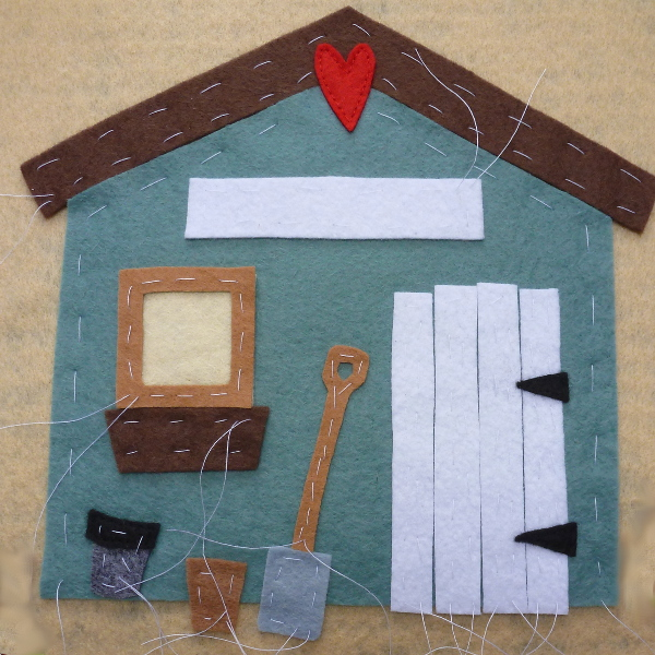 Basting the Main Parts of the Wool Felt Garden Shed in Place Applique Sewing Craft