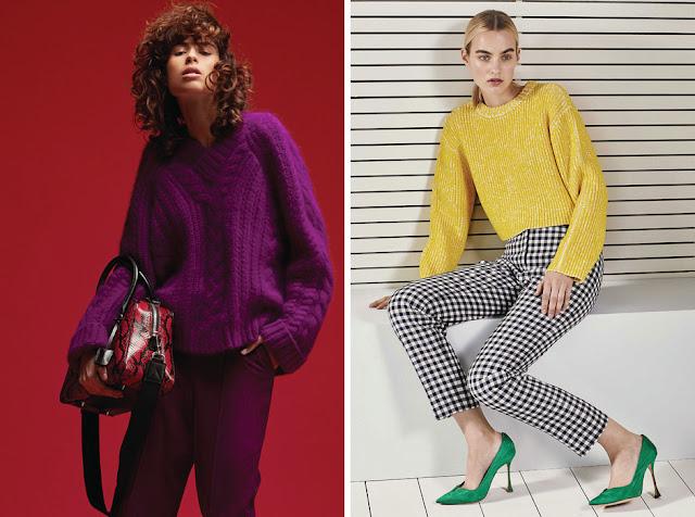 Сочетания красного и фиолетового, желтого и зеленого цветов в одежде