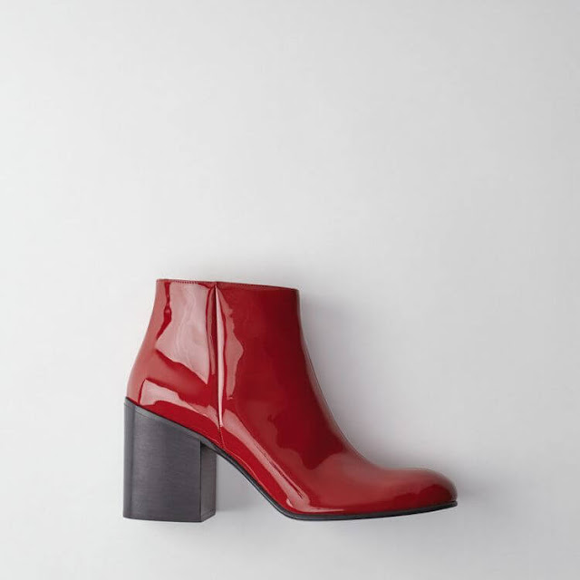Red Patent Leather Ankle Boots