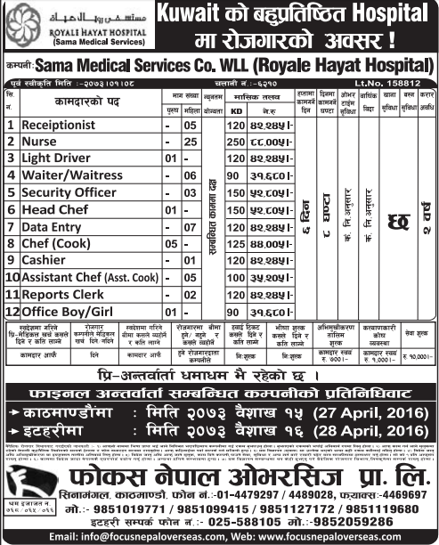 Jobs For Nepali In Kuwait, Free Visa & Free Ticket, Salary -Rs.88,005/