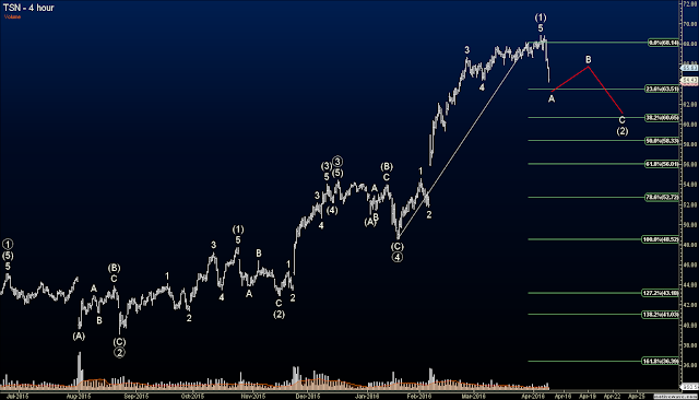 Elliott Wave Option Signals - Closed TSN Short at 34% Profit