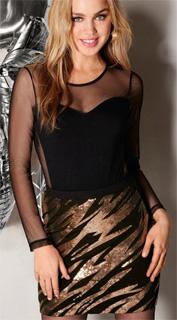 Falda corta con diseño frontal de lentejuelas y espalda lisa para navidad 2017