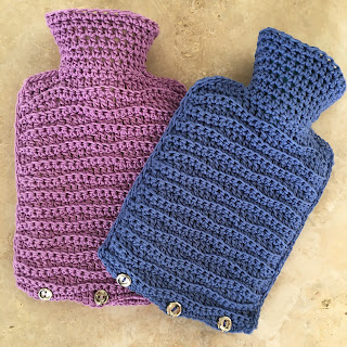 Two crochet hot water bottles