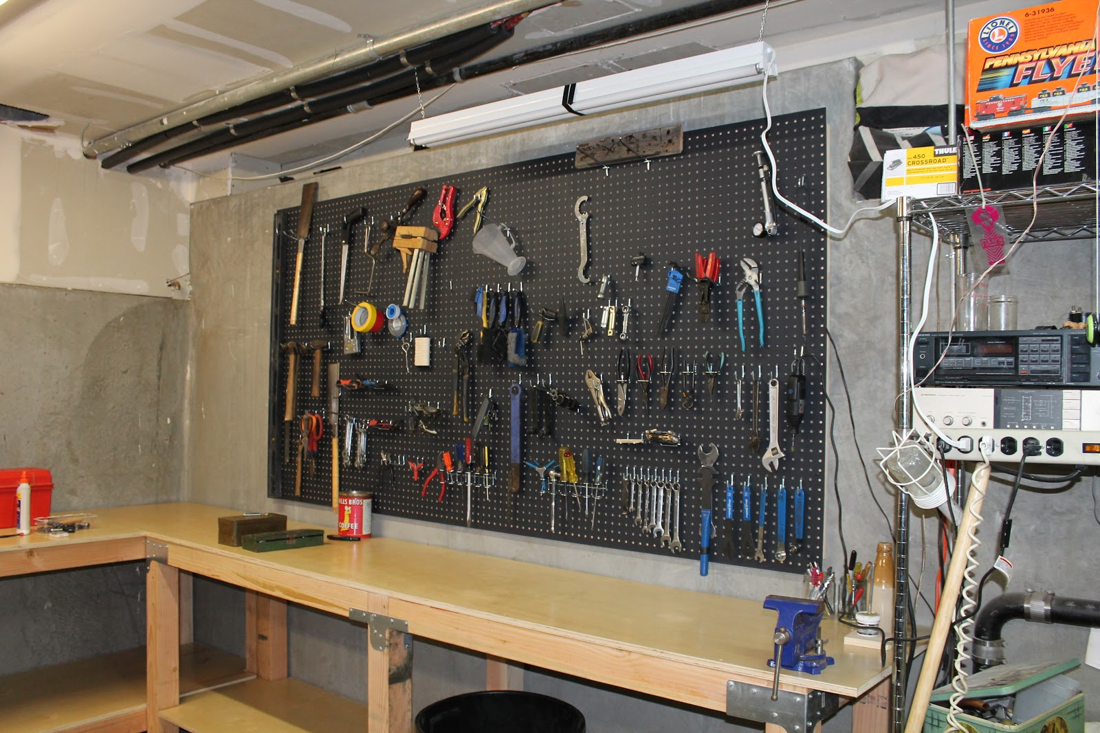 the shingled house: the garage: pegboard and tools