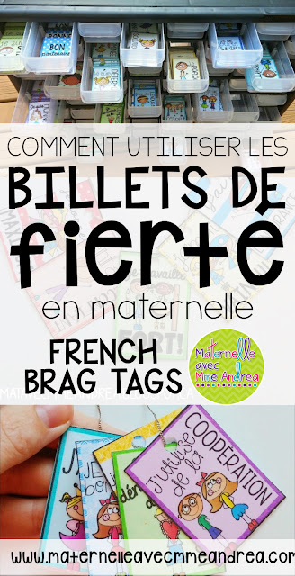 "Looking for tips on how to put the best behaviour management system for maternelle into place? Use ""les billets de fierté"" (French Brag Tags) to get your French primary students excited to be their best! Check out this blog post to see how you can make French brag tags work for you, even in maternelle."