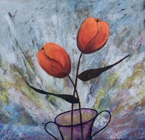 tulipas acrílica s tela para decoração