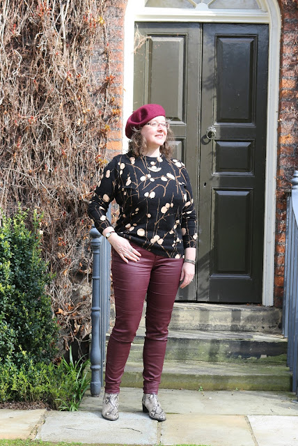 Stylish Look on a Budget; Warehouse Patterned Jumper, Burgundy Coated Biker Jeans, Snakeskin Boots, beret | Petite Silver Vixen, over 40 style