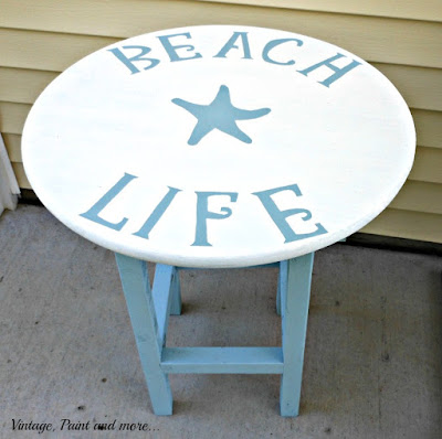 Vintage, Paint and more... reverse stenciled table for a beach decor