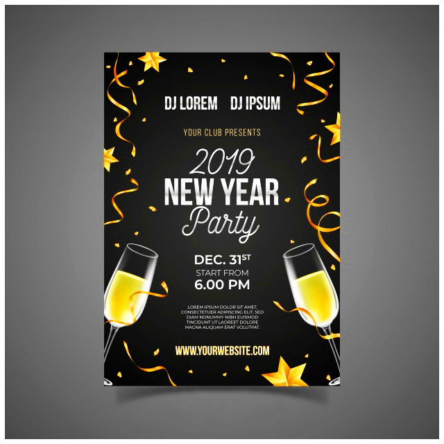 hpa wallpaper software realistic champagne new year party poster template free vector realistic champagne new year party