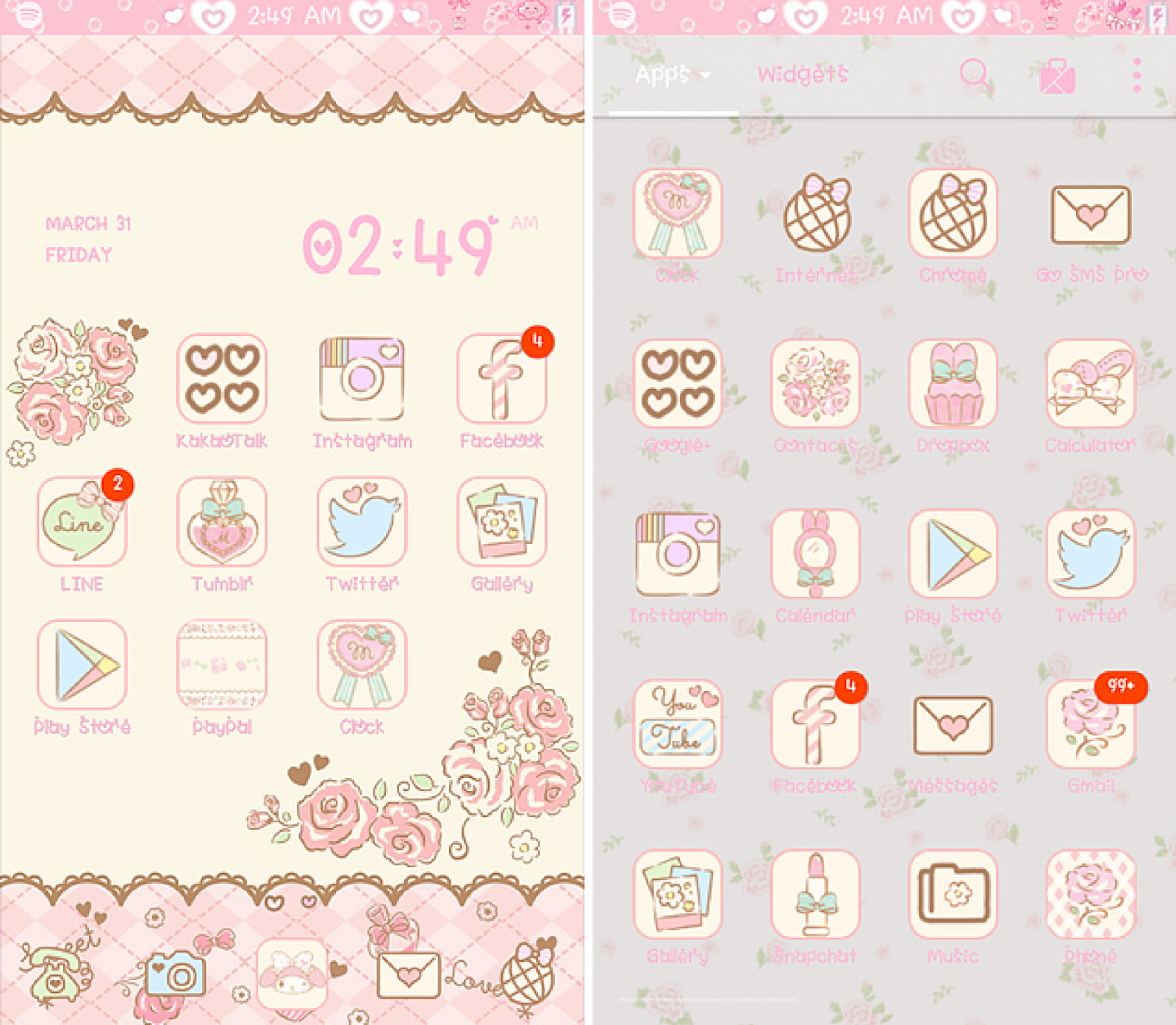 pink paradise my melody fashionable cute launcher theme