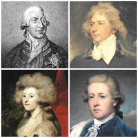 George III in a white wig; George IV, Maria Fitzherbert and William Cavendish, Duke of Devonshire, showing the effect of powder in the hair