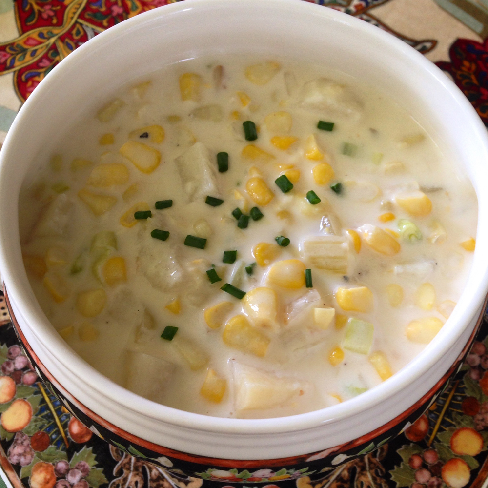 Bowl of creamy vegetarian corn chowder