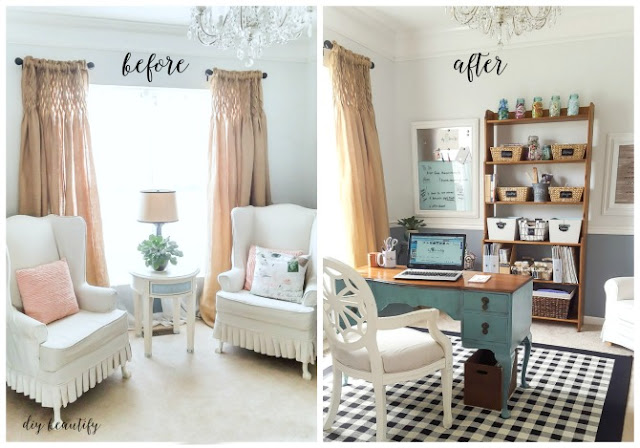 sitting room turned elegant office and craft space