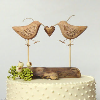 reclaimed wood bird cake topper