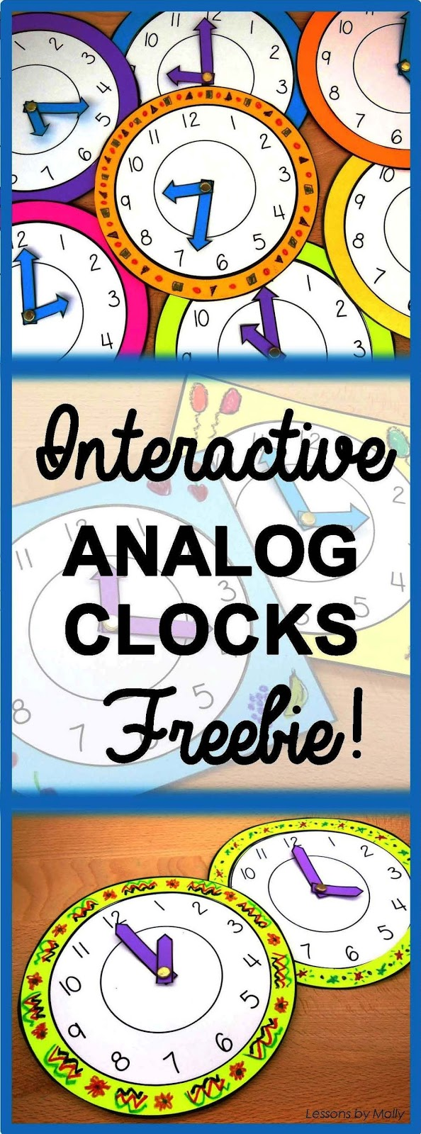 """These analog paper clocks will make learning to tell time fun and engaging for your students!  The moveable hands make these clocks interactive!  Use the clocks when students are learning about the numerals on a face clock or when teaching the difference between the hour hand and the minute hand.  Make each clock unique by having the students decorate the frames with crayons or magic markers.  Display the clocks on a bulletin board with a catchy phrase such as, """"It's TIME for a New Year.""""  FREE!"""