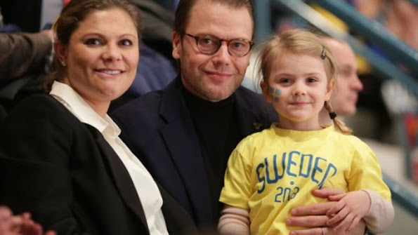 Crown Princess Victoria of Sweden, Prince Daniel and Princess Estelle of Sweden watch the Euro Hockey Tour game between Sweden and Finland at the Hovet Arena