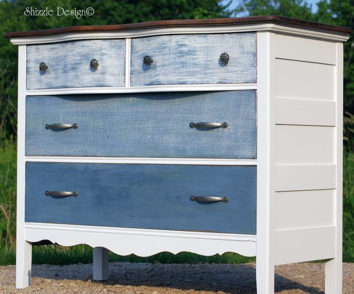 shizzle design antique dresser painted with blue and white ombre