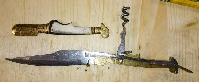 vecchio coltellino coltello serramanico piemontese cavatappi con guancette in corno
