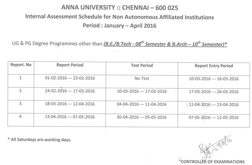 Anna University Internal Assessment Exam Schedule January to April 2016 Even Semester