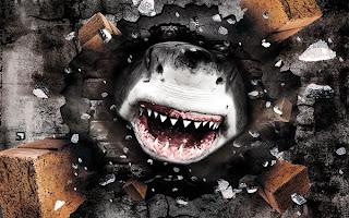 fotomontaje de tiburón atravesando la pared