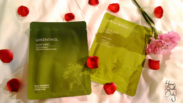Review; Nature Republic's Greentinol + White Vita Floral Mask Sheet